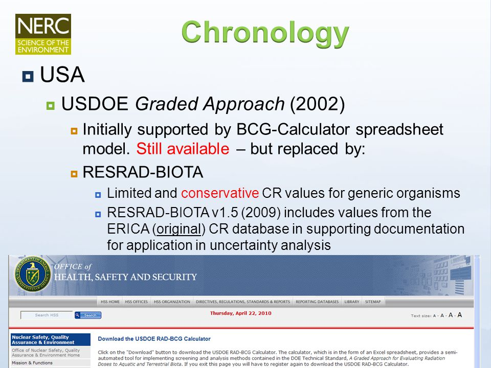  USA  USDOE Graded Approach (2002)  Initially supported by BCG-Calculator spreadsheet model.