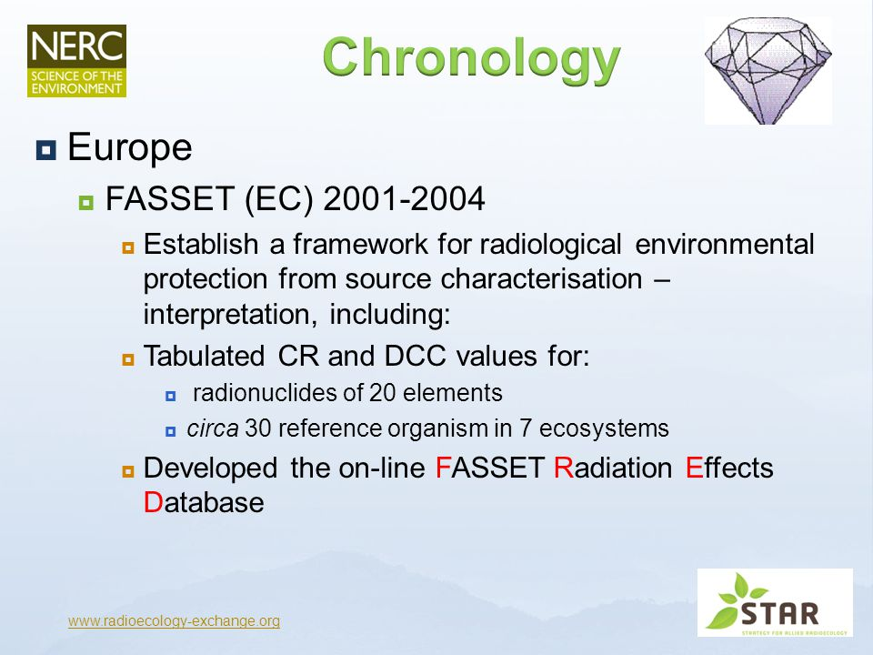  Europe  EPIC (EC) 2000-2003  Establish a framework for radiological environmental protection for the Arctic  Ran concurrent to FASSET and shared CR database  Although presented differently and for only 12 radionuclides  DCCs derived by a different method  Allowed participation of Russian institutes leading to EPIC effects database www.radioecology-exchange.org