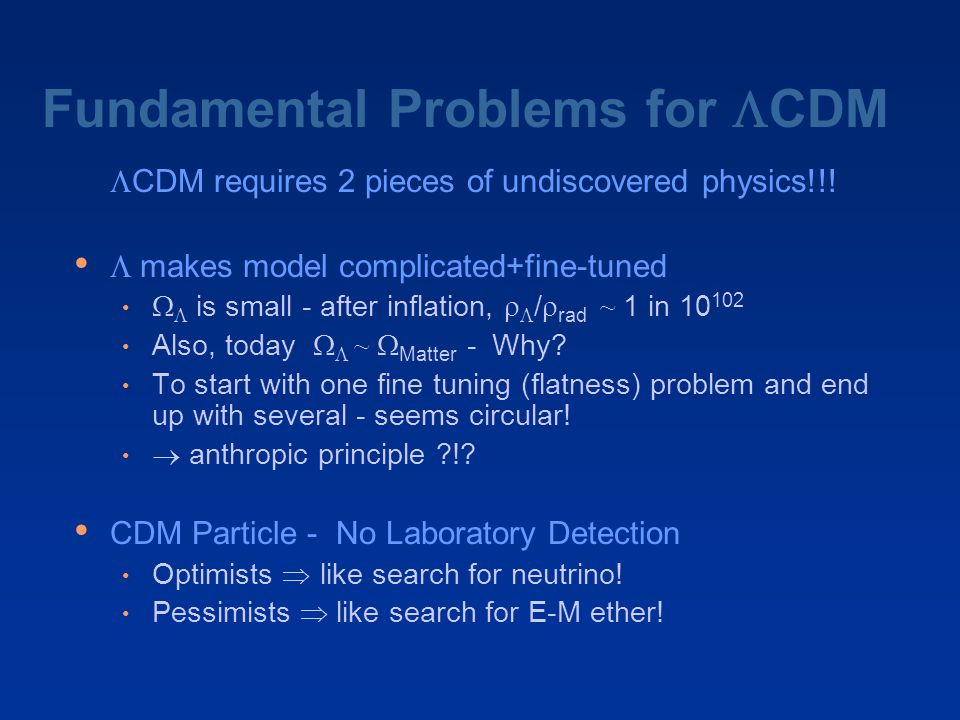 Fundamental Problems for  CDM   CDM requires 2 pieces of undiscovered physics!!!  makes model complicated+fine-tuned   is small - after inflati