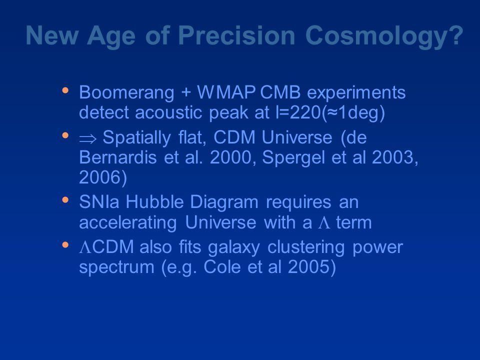 New Age of Precision Cosmology? Boomerang + WMAP CMB experiments detect acoustic peak at l=220(≈1deg)  Spatially flat, CDM Universe (de Bernardis et
