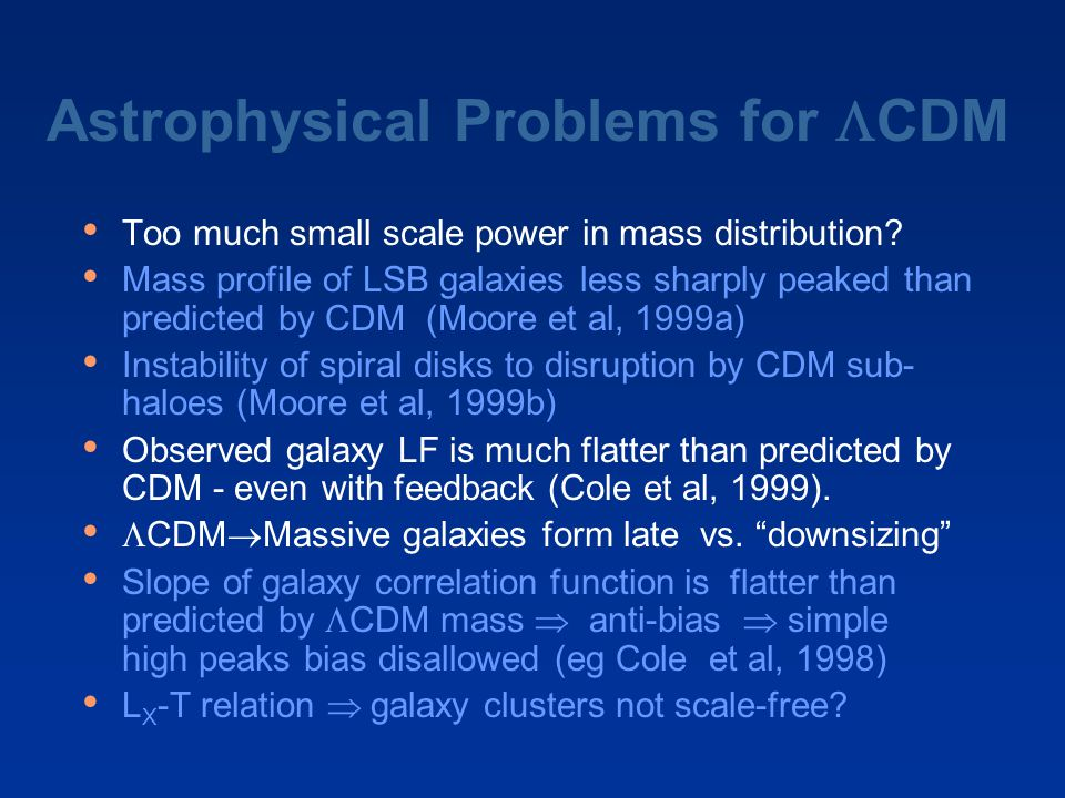 Astrophysical Problems for  CDM Too much small scale power in mass distribution? Mass profile of LSB galaxies less sharply peaked than predicted by C