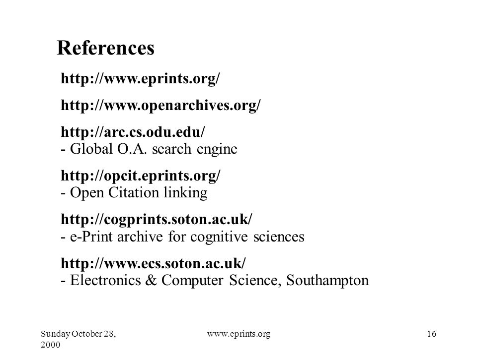 Sunday October 28, www.eprints.org References Global O.A.