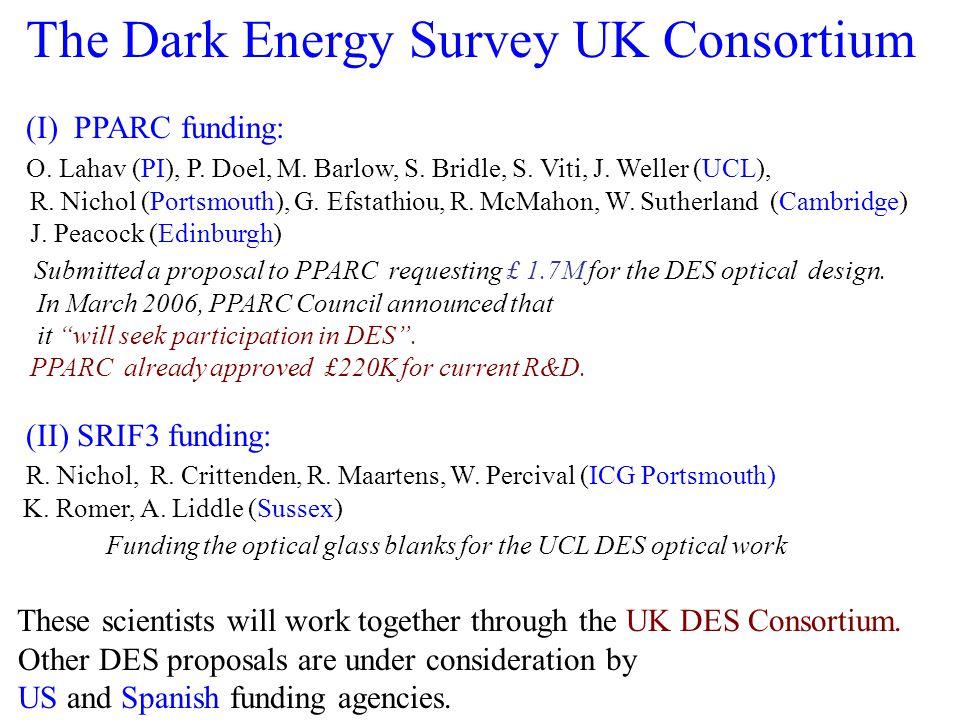 The Dark Energy Survey UK Consortium (I) PPARC funding: O. Lahav (PI), P. Doel, M. Barlow, S. Bridle, S. Viti, J. Weller (UCL), R. Nichol (Portsmouth)