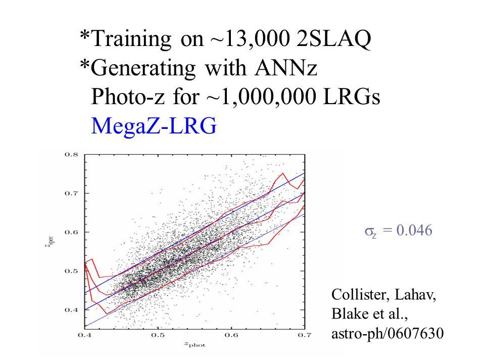 *Training on ~13,000 2SLAQ *Generating with ANNz Photo-z for ~1,000,000 LRGs MegaZ-LRG  z = 0.046 Collister, Lahav, Blake et al., astro-ph/0607630