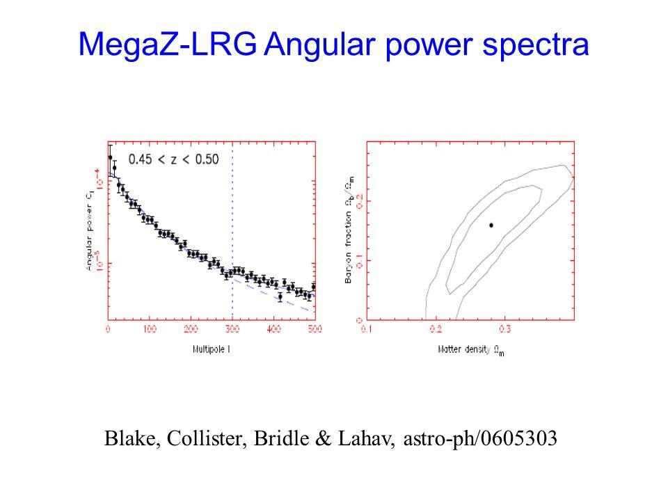 MegaZ-LRG Angular power spectra Blake, Collister, Bridle & Lahav, astro-ph/0605303