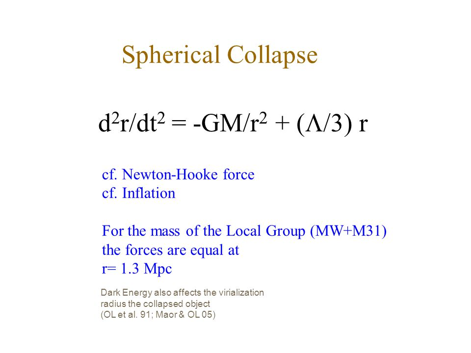 Spherical Collapse d 2 r/dt 2 = -GM/r 2 + (  /3) r cf. Newton-Hooke force cf. Inflation For the mass of the Local Group (MW+M31) the forces are equal