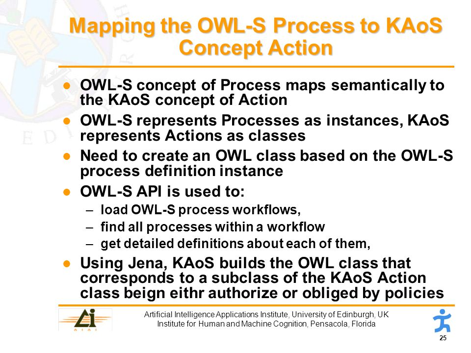25 Artificial Intelligence Applications Institute, University of Edinburgh, UK Institute for Human and Machine Cognition, Pensacola, Florida Mapping the OWL-S Process to KAoS Concept Action l OWL-S concept of Process maps semantically to the KAoS concept of Action l OWL-S represents Processes as instances, KAoS represents Actions as classes l Need to create an OWL class based on the OWL-S process definition instance l OWL-S API is used to: –load OWL-S process workflows, –find all processes within a workflow –get detailed definitions about each of them, l Using Jena, KAoS builds the OWL class that corresponds to a subclass of the KAoS Action class beign eithr authorize or obliged by policies