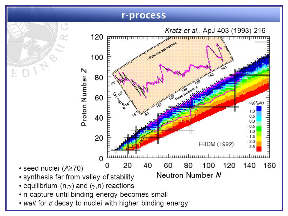 r-process seed nuclei (A≥70) synthesis far from valley of stability equilibrium (n,  ) and ( ,n) reactions n-capture until binding energy becomes small wait for  decay to nuclei with higher binding energy Kratz et al., ApJ 403 (1993) 216