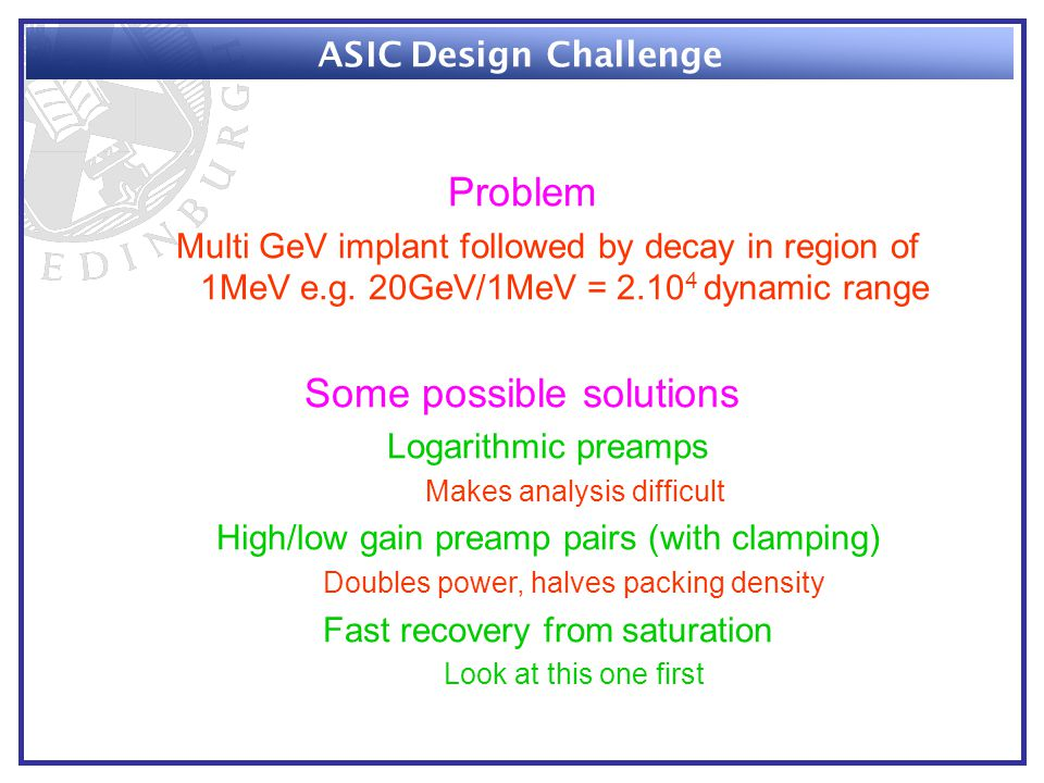 Problem Multi GeV implant followed by decay in region of 1MeV e.g.