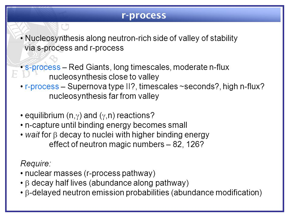 r-process Nucleosynthesis along neutron-rich side of valley of stability via s-process and r-process s-process – Red Giants, long timescales, moderate n-flux nucleosynthesis close to valley r-process – Supernova type II , timescales ~seconds , high n-flux.