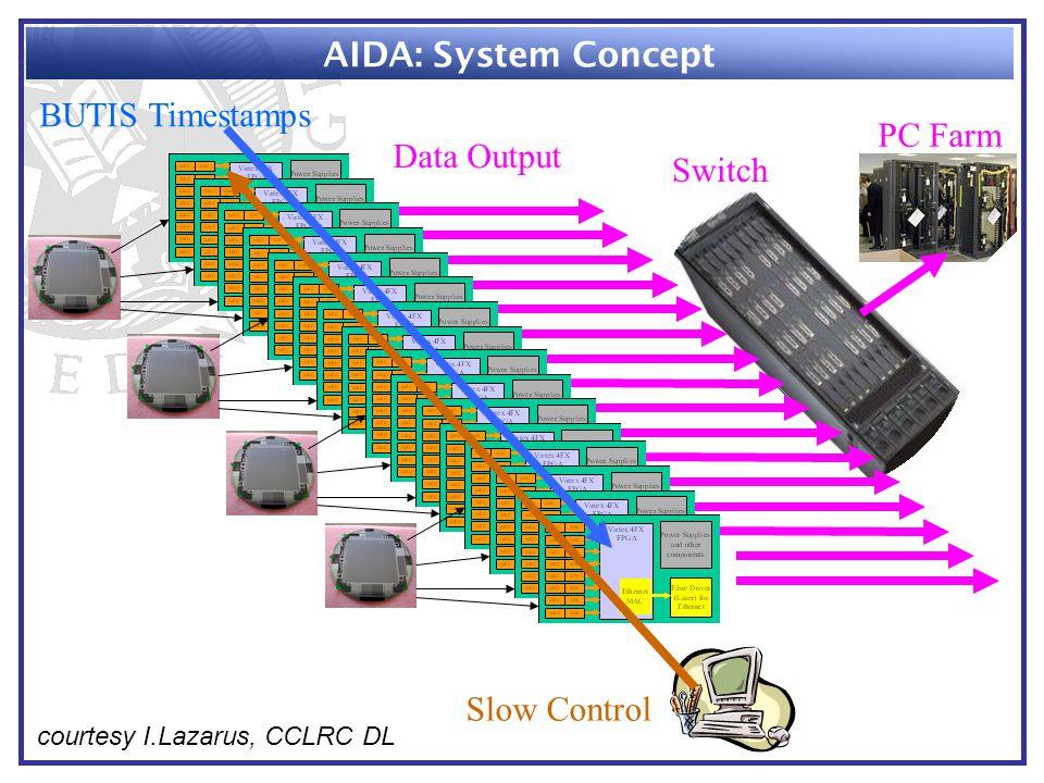 Slow Control BUTIS Timestamps Data Output Switch PC Farm AIDA: System Concept courtesy I.Lazarus, CCLRC DL