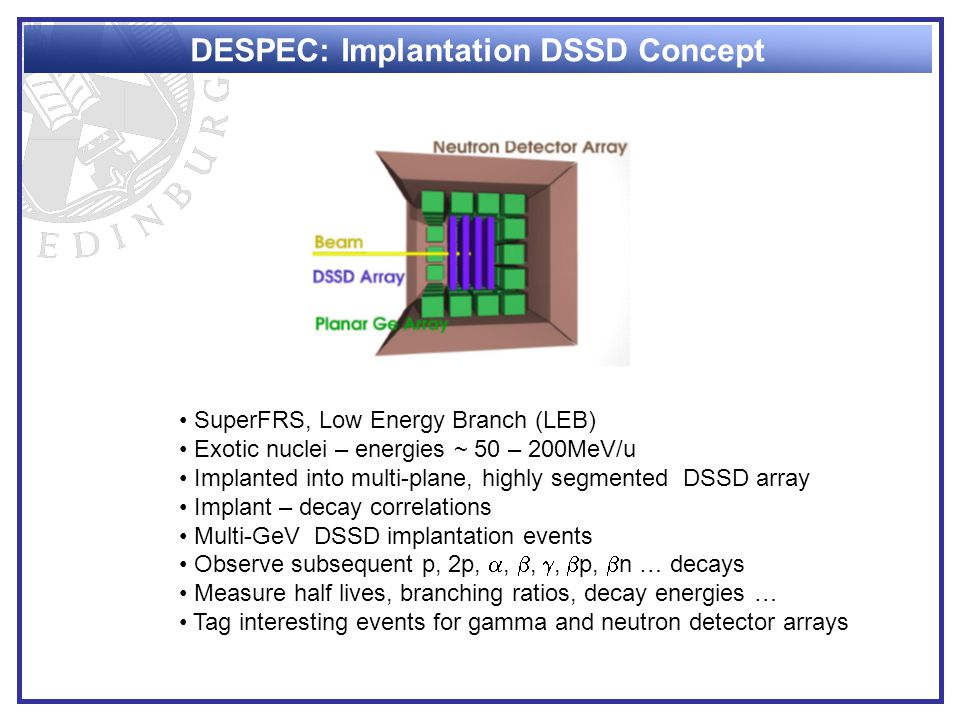 DESPEC: Implantation DSSD Concept SuperFRS, Low Energy Branch (LEB) Exotic nuclei – energies ~ 50 – 200MeV/u Implanted into multi-plane, highly segmented DSSD array Implant – decay correlations Multi-GeV DSSD implantation events Observe subsequent p, 2p, , , ,  p,  n … decays Measure half lives, branching ratios, decay energies … Tag interesting events for gamma and neutron detector arrays
