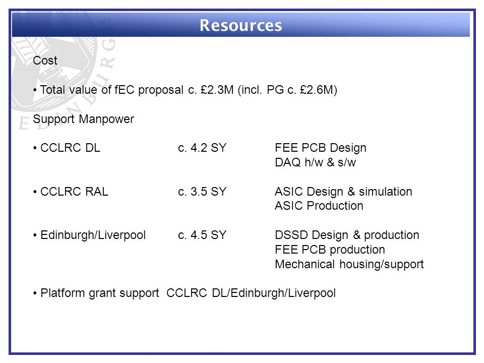 Resources Cost Total value of fEC proposal c. £2.3M (incl.