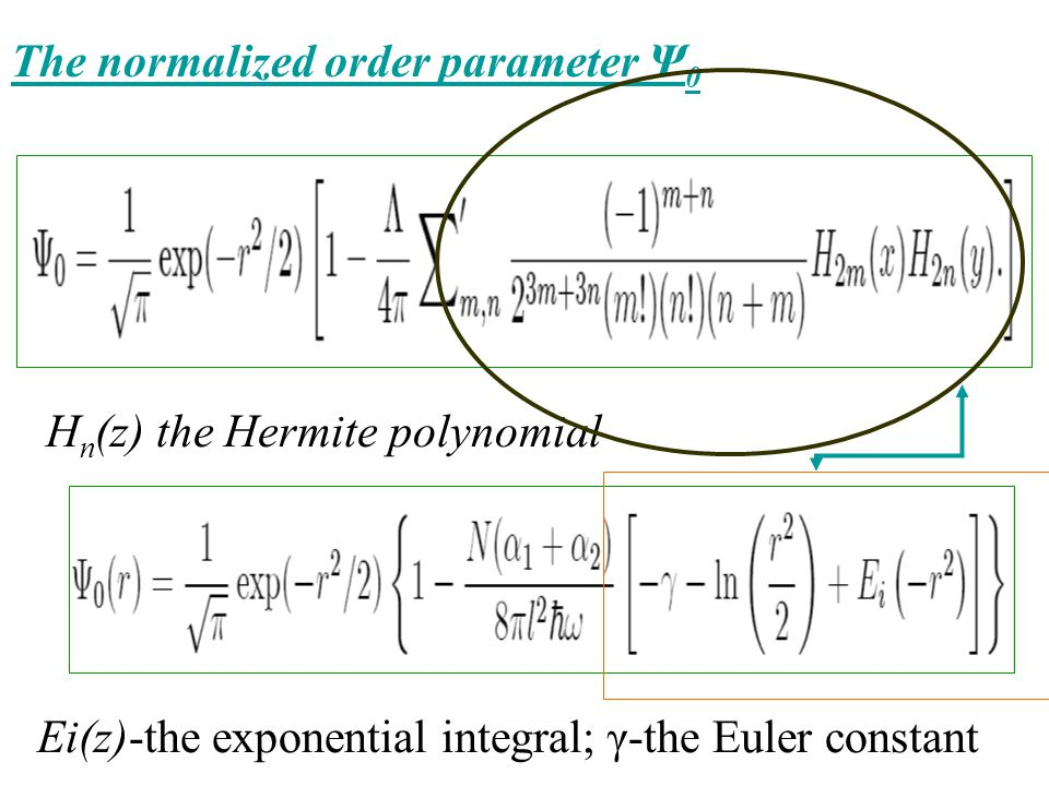 The normalized order parameter Ψ 0 H n (z) the Hermite polynomial Ei(z)-the exponential integral; γ-the Euler constant