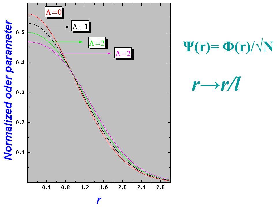 Ψ(r)= Φ(r)/√N r→r/l