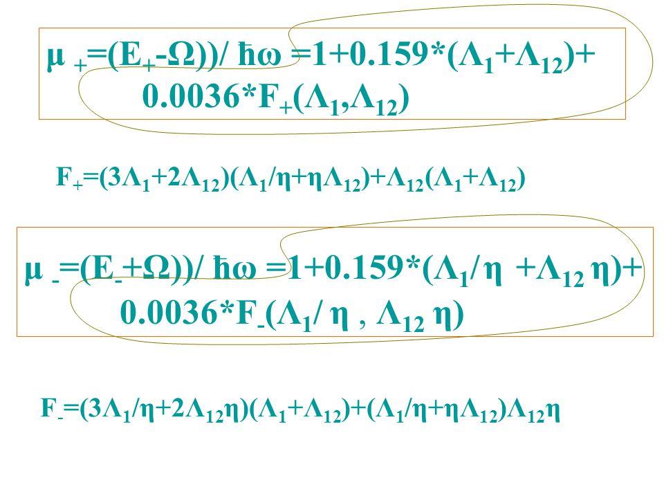 μ + =(E + -Ω))/ ћω =1+0.159*(Λ 1 +Λ 12 )+ 0.0036*F + (Λ 1,Λ 12 ) μ - =(E - +Ω))/ ћω =1+0.159*(Λ 1 / η +Λ 12 η)+ 0.0036*F - (Λ 1 / η, Λ 12 η) F + =(3Λ 1 +2Λ 12 )(Λ 1 /η+ηΛ 12 )+Λ 12 (Λ 1 +Λ 12 ) F - =(3Λ 1 /η+2Λ 12 η)(Λ 1 +Λ 12 )+(Λ 1 /η+ηΛ 12 )Λ 12 η