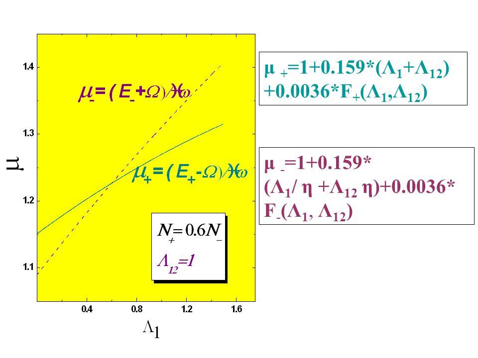 μ + =1+0.159*(Λ 1 +Λ 12 ) +0.0036*F + (Λ 1,Λ 12 ) μ - =1+0.159* (Λ 1 / η +Λ 12 η)+0.0036* F - (Λ 1, Λ 12 )