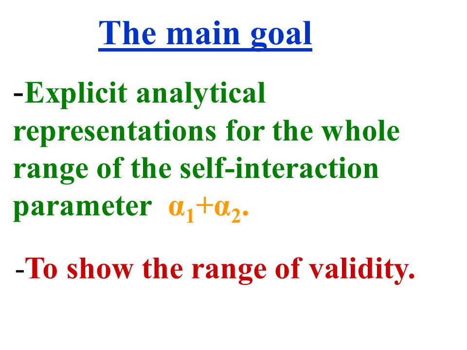 - Explicit analytical representations for the whole range of the self-interaction parameter α 1 +α 2.