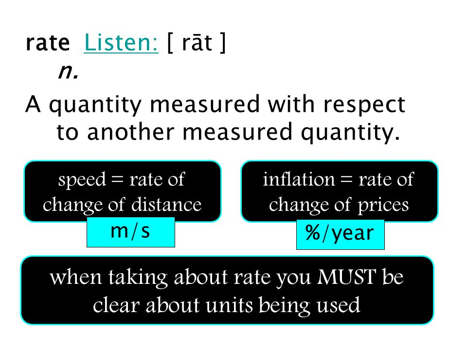 rate Listen: [ rāt ] n.Listen: A quantity measured with respect to another measured quantity. speed = rate of change of distance inflation = rate of c