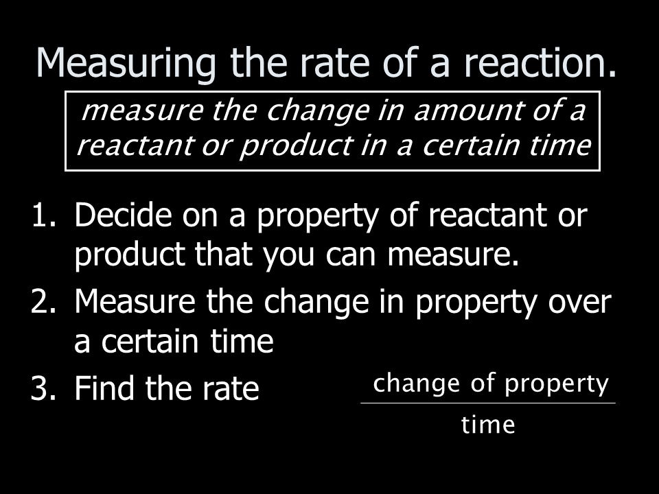 Initial Rates Method – reciprocal of time Measuring how long to produce a small fixed amount of one of the products.