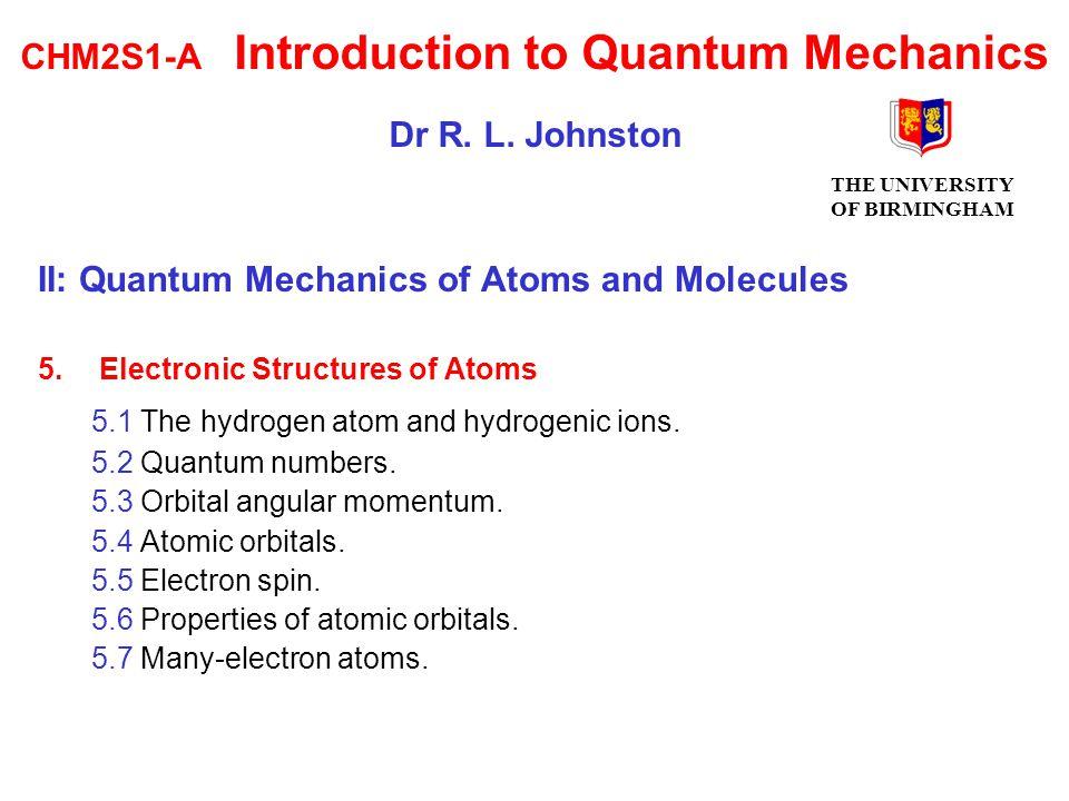 6.Bonding in Molecules 6.1 The Born-Oppenheimer approximation.