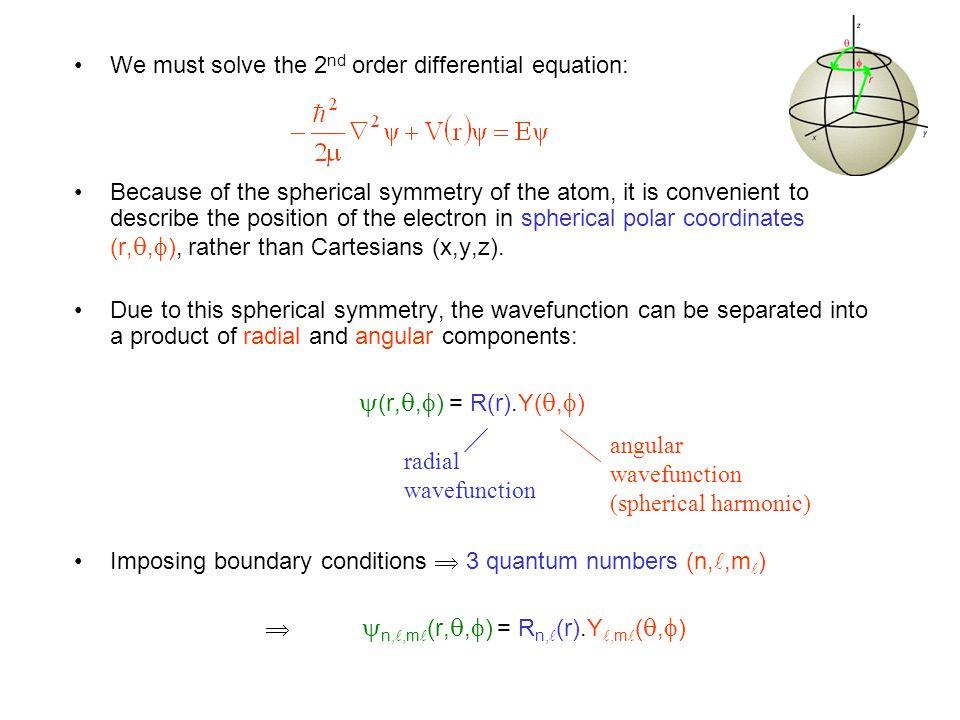 5.2Quantum Numbers  n,,m (r, ,  ) = R n, (r).Y,m ( ,  )  depends on 3 quantum numbers (n,,m ).
