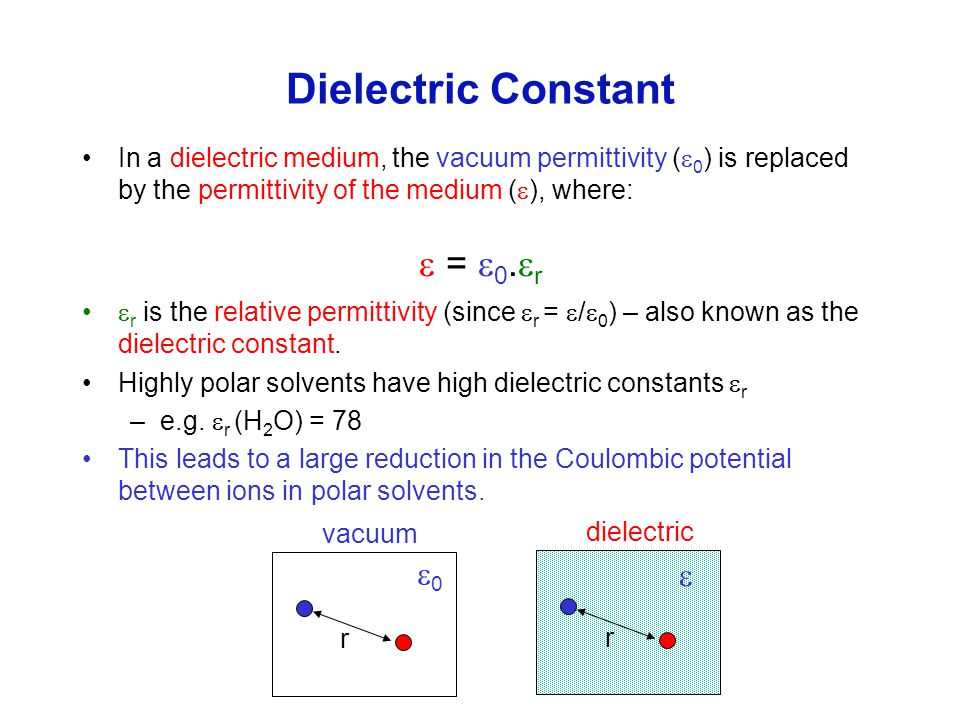 Dielectric Constant In a dielectric medium, the vacuum permittivity (  0 ) is replaced by the permittivity of the medium (  ), where:  =  0.  r 