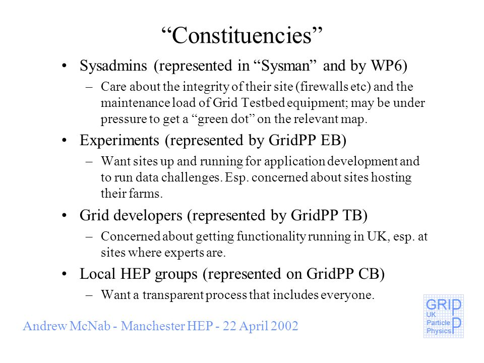 Andrew McNab - Manchester HEP - 22 April 2002 Constituencies Sysadmins (represented in Sysman and by WP6) –Care about the integrity of their site (firewalls etc) and the maintenance load of Grid Testbed equipment; may be under pressure to get a green dot on the relevant map.
