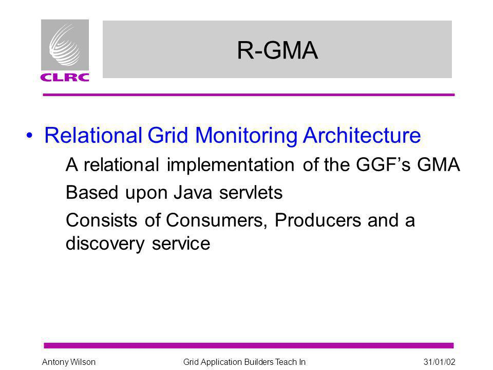 Grid Application Builders Teach In31/01/02Antony Wilson LDAP - Example Search dn: in=status,seId=gppmds.gridpp.rl.ac.uk,Mds-Vo- name=ral, Mds-Vo-name=ral,o=grid objectClass: StorageElementStstus objectClass: DataGridTop objectClass: DynamicObject SEfreespace: 14795 SEId: gppmds.gridpp.rl.ac.uk