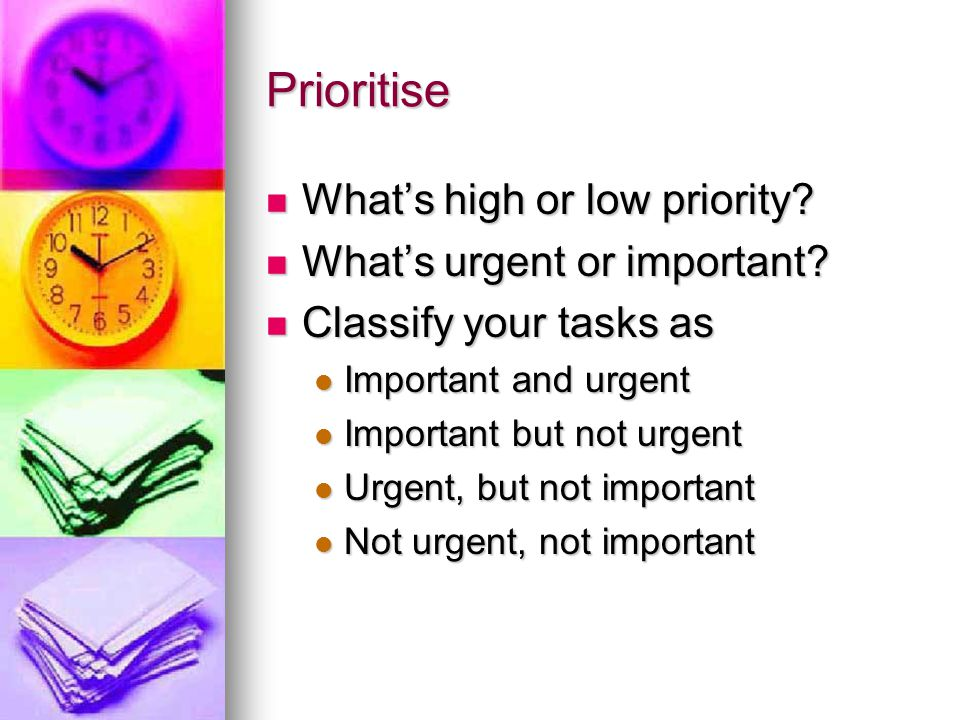 Prioritise What's high or low priority. What's high or low priority.