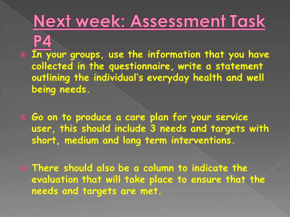  In your groups, use the information that you have collected in the questionnaire, write a statement outlining the individual's everyday health and well being needs.