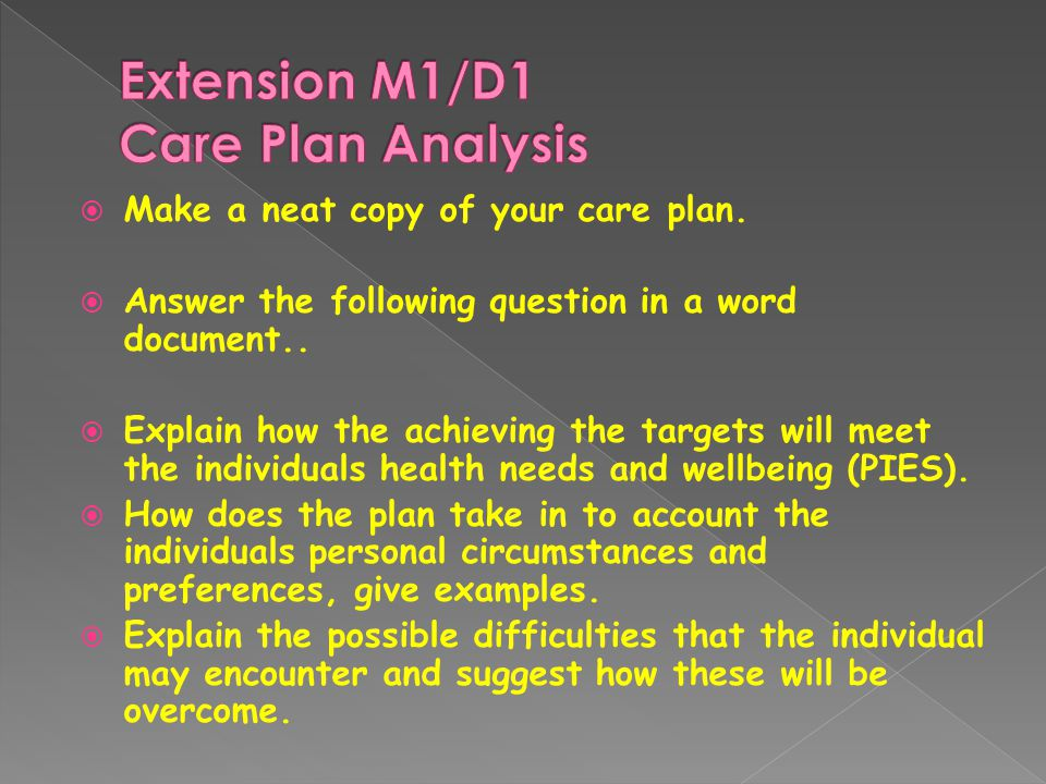  Make a neat copy of your care plan.  Answer the following question in a word document..