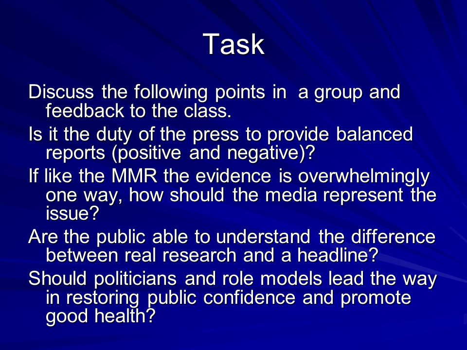 Task Discuss the following points in a group and feedback to the class. Is it the duty of the press to provide balanced reports (positive and negative