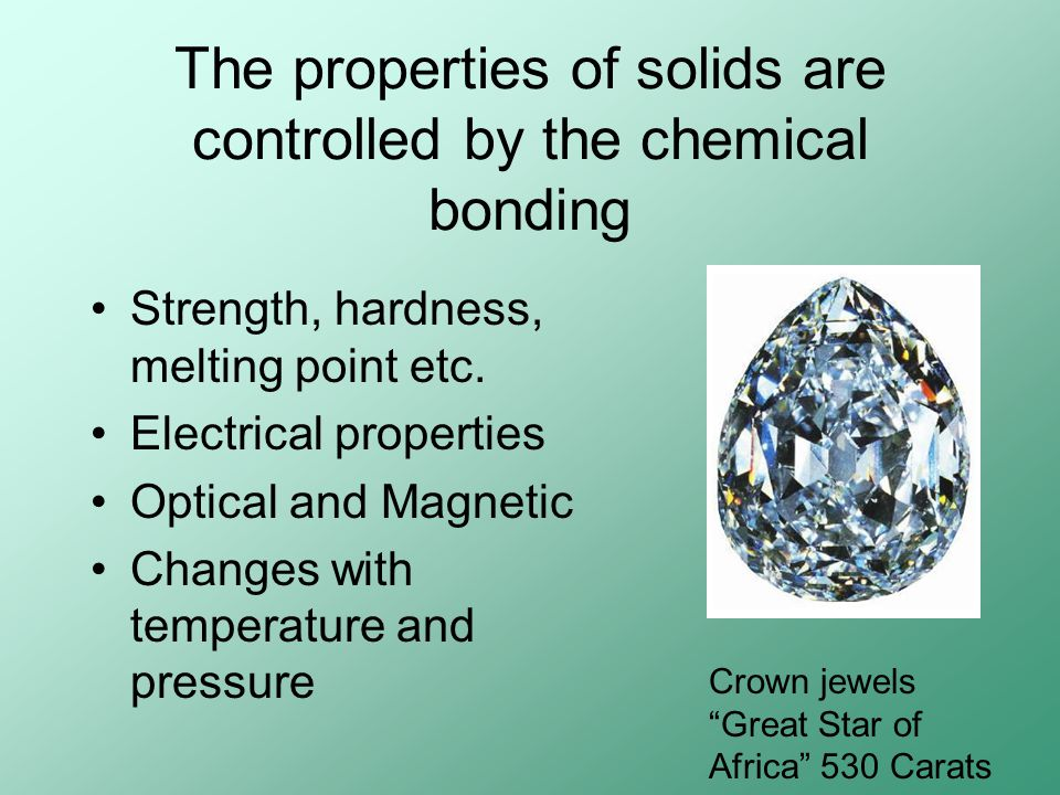 The properties of solids are controlled by the chemical bonding Strength, hardness, melting point etc.