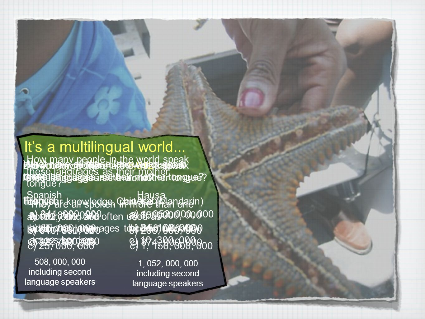 It's a multilingual world... Did you know there are 6,912 known living languages in the world.