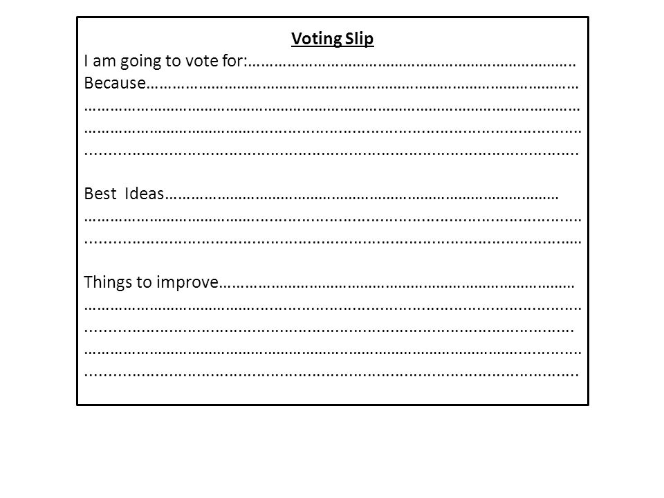 Voting Slip I am going to vote for:…………………………………………………………………..