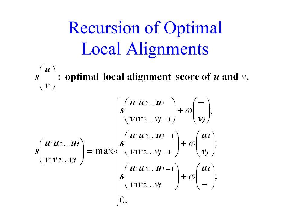 Recursion of Optimal Local Alignments