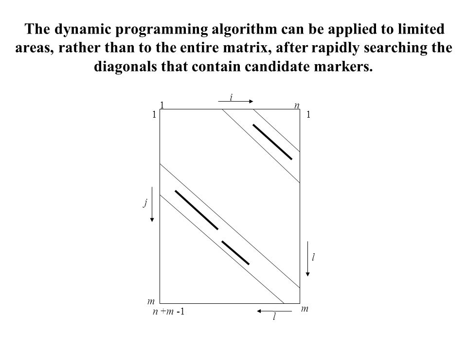 The dynamic programming algorithm can be applied to limited areas, rather than to the entire matrix, after rapidly searching the diagonals that contain candidate markers.