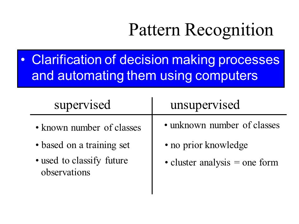 Pattern Recognition Clarification of decision making processes and automating them using computers supervisedunsupervised known number of classes base