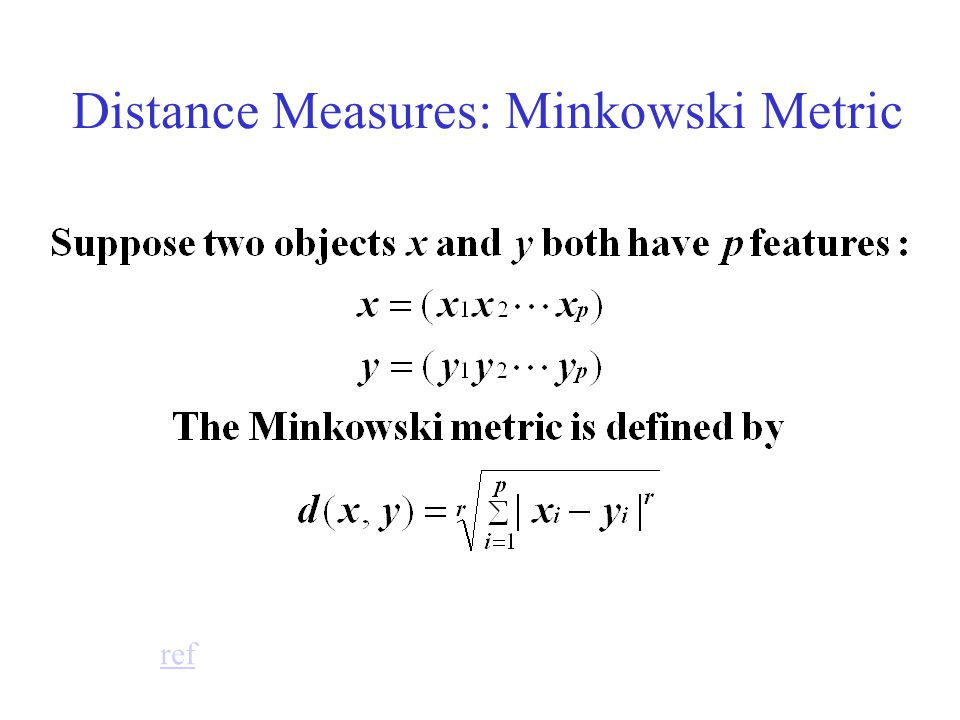 Distance Measures: Minkowski Metric ref
