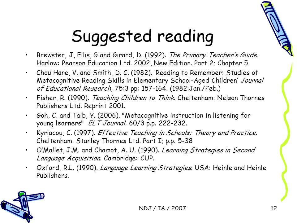 NDJ / IA / 200712 Suggested reading Brewster, J, Ellis, G and Girard, D.