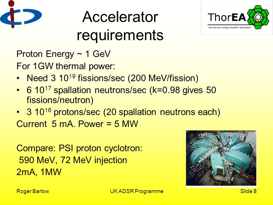 Roger BarlowUK ADSR ProgrammeSlide 9 Specification Cyclotron Energy too high for classical cyclotron.