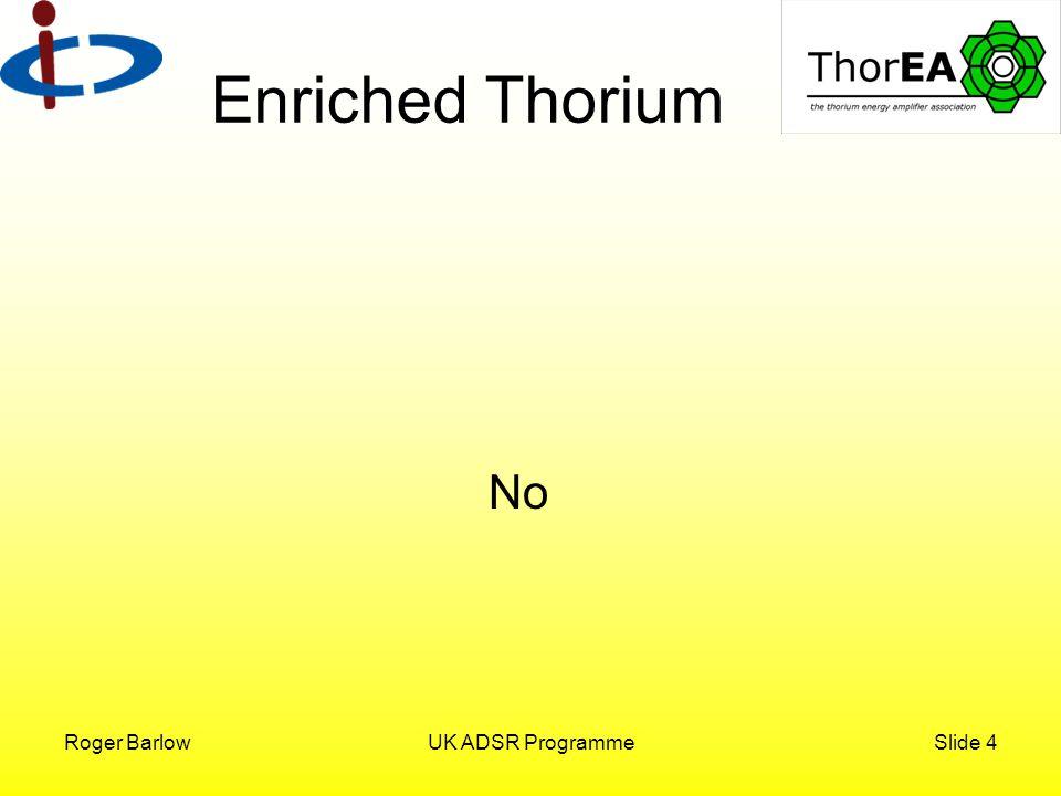 Roger BarlowUK ADSR ProgrammeSlide 4 Enriched Thorium No