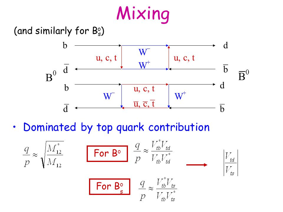 Mixing Dominated by top quark contribution b d u, c, t WW WW _ d b _ b d WW WW _ d b _ _ _ _ B0B0 B0B0  For B o s (and similarly for B s ) o
