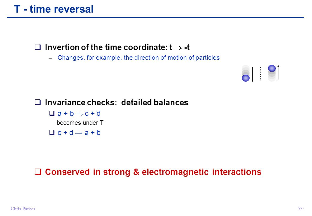 53/Chris Parkes T - time reversal  Invertion of the time coordinate: t  -t – Changes, for example, the direction of motion of particles  Invariance