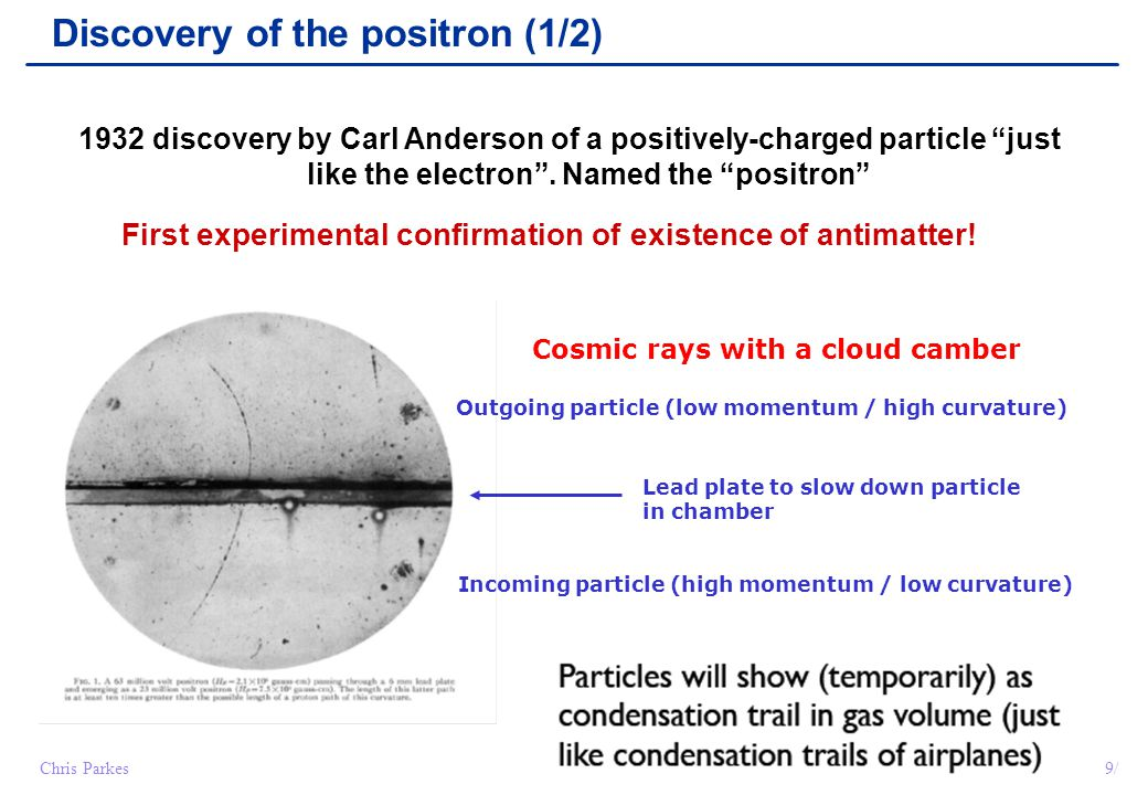 "9/Chris Parkes Discovery of the positron (1/2) 1932 discovery by Carl Anderson of a positively-charged particle ""just like the electron"". Named the ""p"