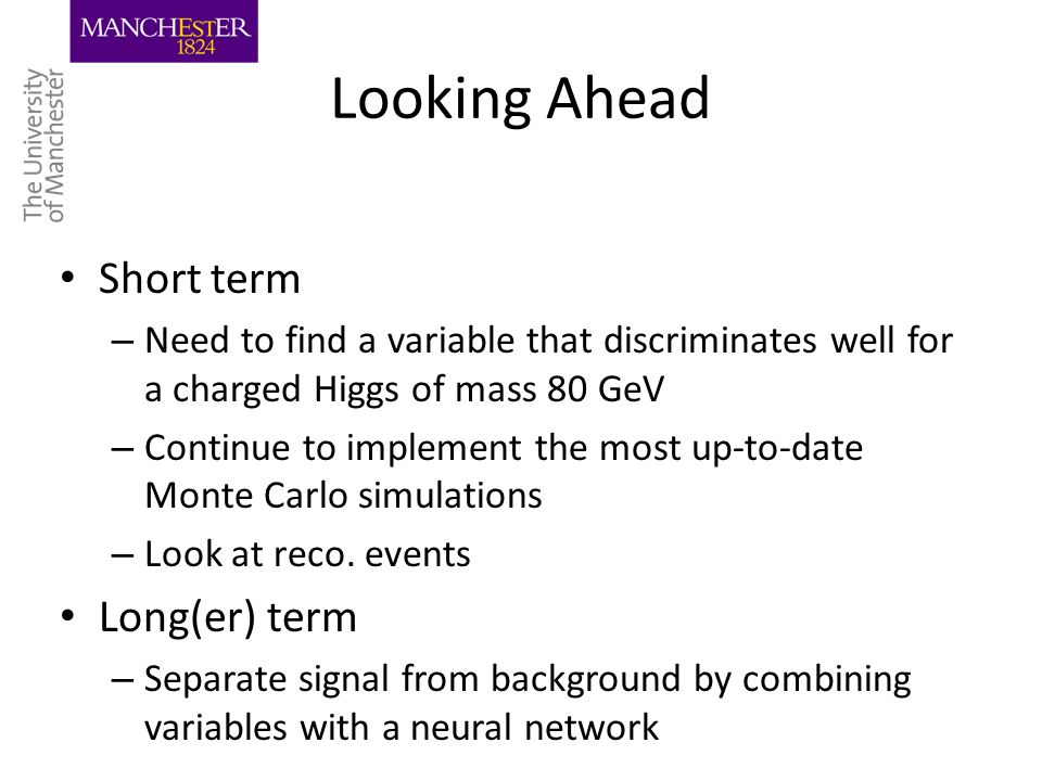 Looking Ahead Short term – Need to find a variable that discriminates well for a charged Higgs of mass 80 GeV – Continue to implement the most up-to-date Monte Carlo simulations – Look at reco.
