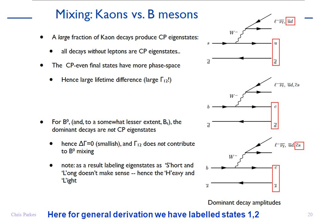 20Chris Parkes Here for general derivation we have labelled states 1,2