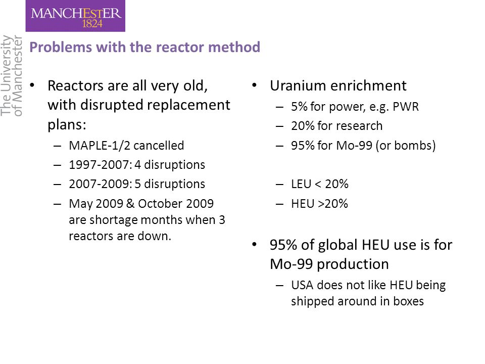 Problems with the reactor method Reactors are all very old, with disrupted replacement plans: – MAPLE-1/2 cancelled – 1997-2007: 4 disruptions – 2007-2009: 5 disruptions – May 2009 & October 2009 are shortage months when 3 reactors are down.