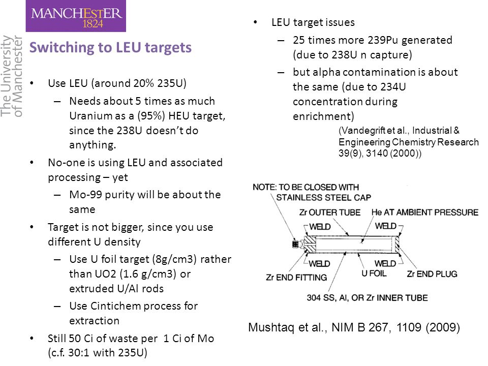 Switching to LEU targets Use LEU (around 20% 235U) – Needs about 5 times as much Uranium as a (95%) HEU target, since the 238U doesn't do anything.